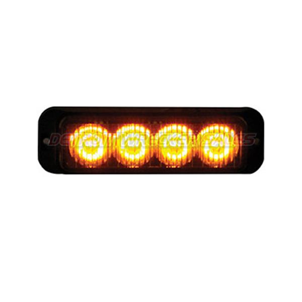 """4"""" LED Surface Mount Strobe Light, Amber 19 Function"""