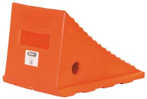 "Flourescent Orange Poly Wheel Chock, 8.69"" W x 11.25""L x 8.13""T"