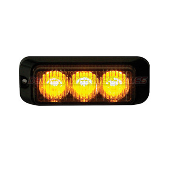 "3"" LED Surface Mount Strobe Light, Amber 12 Function"