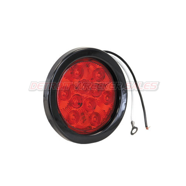 "4"" Round Stop-Turn-Tail Light Red w/ Grommet and Plug"