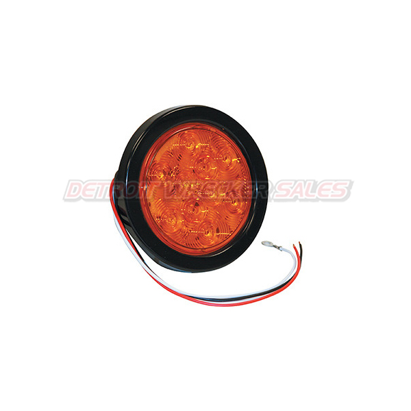 "4"" Round Turn & Park Light, 10 LED Amber w/ Grommet and Plug"