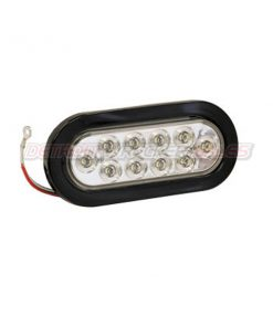 "6-1/2"" Oval Backup Light, 10 LED Clear w/ Grommet & Plug"