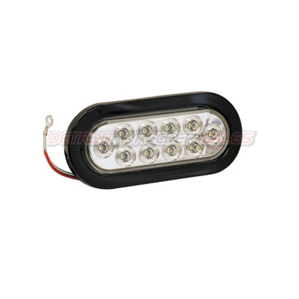 "6-1/2"" Oval Backup Light, 10 LED Clear w/ Grommet & Plug"