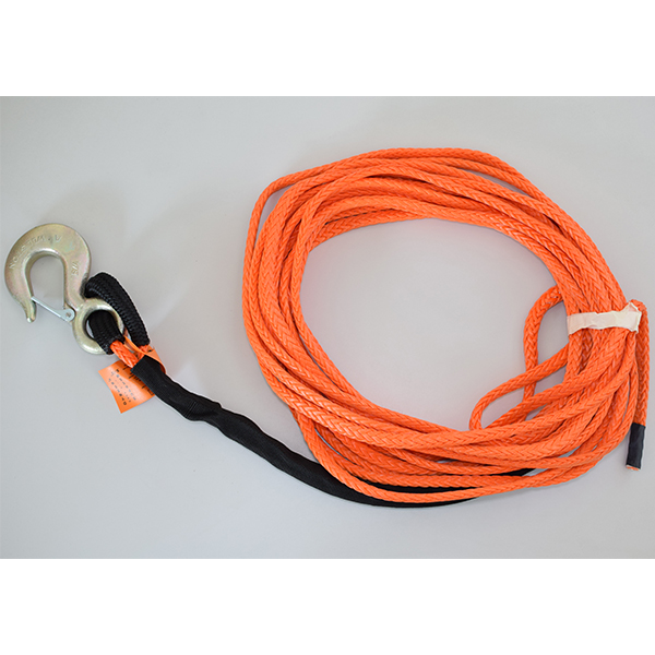 Synthetic Winch Rope 3/8 150ft Fixed hook